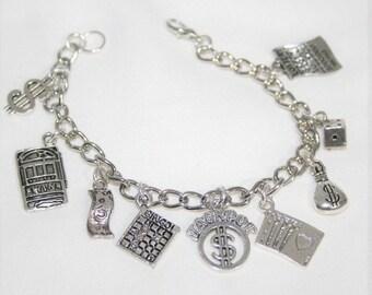 Casino Charm Bracelet,  Slot Machine Bracelet, Gambling Bracelet, Card Player Bracelet, Love to Gamble Gift, Bingo,  Custom Fit Bracelet
