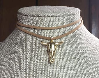 JESSIE Brown or Black Suede Double Choker with GOLD Bull SKULL * Cow * Trendy