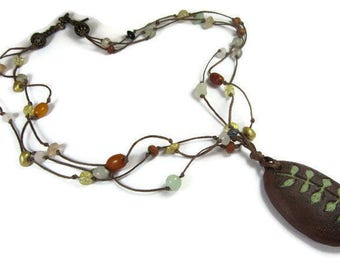Necklace Brown Boho, Nature Inspired, Boho Hippie Necklace, Forest Jewelry, Fern Necklace, Necklace Boho Green, Polymer Clay Pendant, Amber