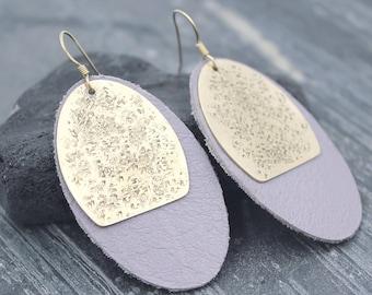 OVERSIZED Genuine Leather Oval Disc earrings