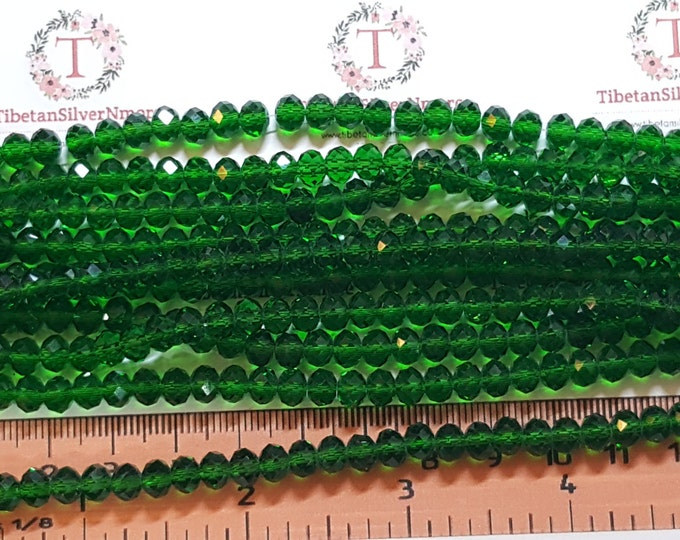 1 strand of 6x4mm Faceted Rondelle Deep Green finish Chinese Crystal