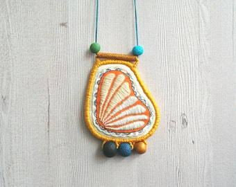 Contemporary embroidery necklace, embroidered pendant asymmetric necklace modern embroidery jewelry statement big pendant necklace fiber art
