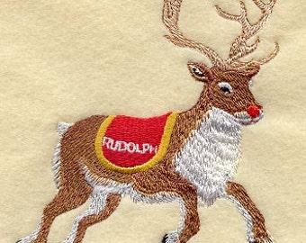 SANTAS FLIGHT - RUDOLPH- Machine Embroidered Quilt Blocks (AzEB)