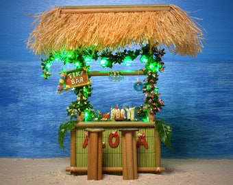 RESERVED - Illuminated Miniature Hawaiian Tiki Bar