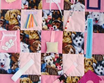 Fidget blanket,dog activity quilt, ladies gifts for Alzheimer's, dementia, stroke, nursing home