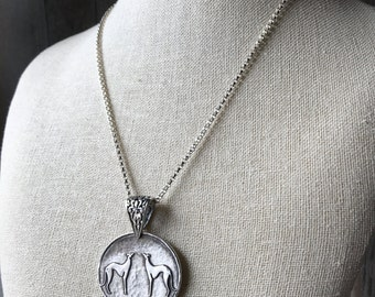 Two of a Kind Greyhound - Extra Large - Fine & Sterling Silver Pendant Necklace - Adjustable Chain - Two Greyhounds - Made to Order