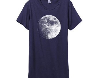 Womens Harvest Moon Tshirt - Midnight Womens Basic Lunar Shirt - In Small, Medium, Large and XL - Eco Fashion