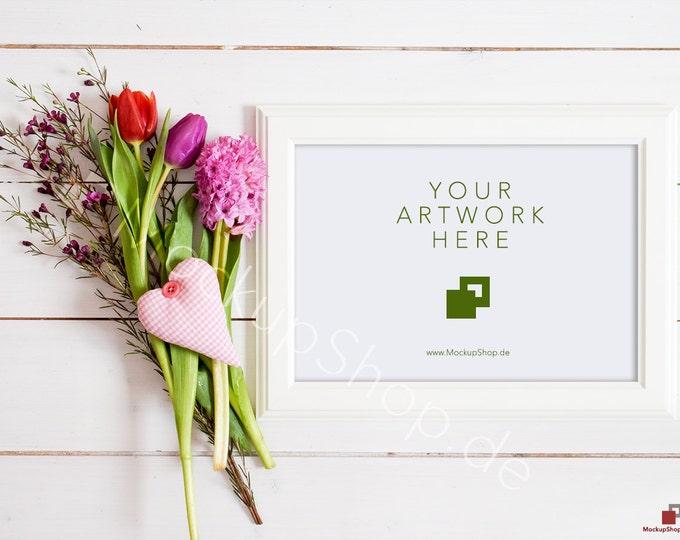 FLOWER MOCKUP horizontal frame / spring flowers / valentines day / white empty frame mockup / flower frame mockup / landscape frame