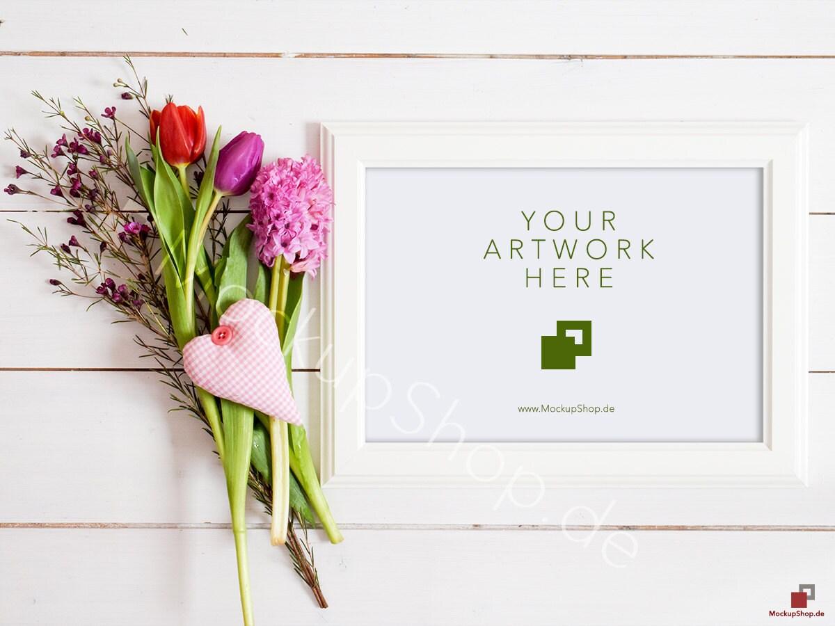FLOWER MOCKUP horizontal frame / spring flowers / valentines