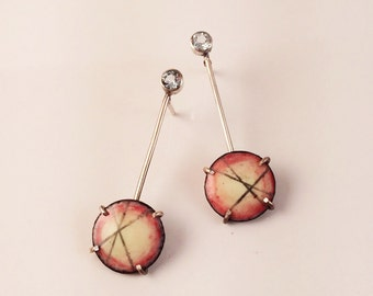 Crossing Collection - Red Dangle Enamel Earrings with Topaz