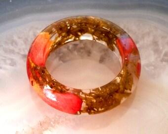 1 bohemian resin ring, friendship ring, flower ring, finger ring, Moosring, Auroraring, Rose, resin jewelry