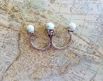 2 Finger Ring, Genuine Caribbean Larimar Statement Ring, Larimar Ring, Two Finger Ring, Statement Ring, Multi Finger Ring