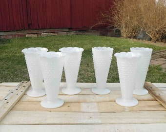 Vintage White Milk Glass Hobnail and Bar Vase Footed,Large ,Scalloped Edged Vase,Wedding Decor