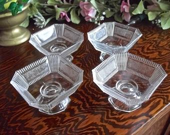 Art Deco Dessert Cups, Set Of 4, Vintage Dessert Glasses, Vintage Custard Cups, Pudding Cups, Vintage Berry Bowls, 1930's Dessert Cups