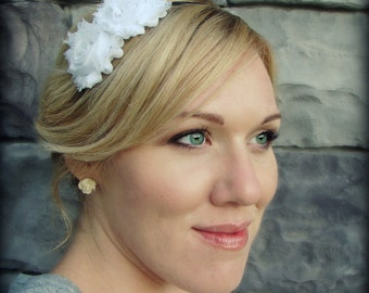 White Headband for Adults-Shabby Chic Headband for Women and Girls