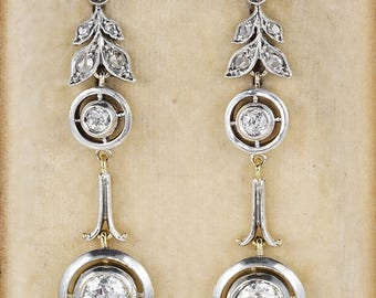 Belle Epoque 2.10 Ct diamond rare drop earrings