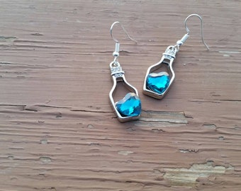 Dark Teal Love Potion Charm Earrings with Crystal Hearts and Rhinestones - Gifts for her - Valentine's Gift Ideas