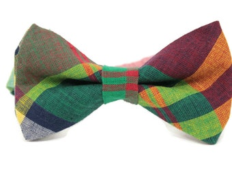 Madras bow tie for boys, toddlers, men, youth and babies. Madras green and burgundy bow tie, Wedding bow tie, Ring bearer madras bowtie,