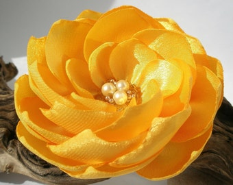 Intricate Yellow Flower Hair Clip  | Gentle Bridal Floral Hair Pin | Fabric Flower Hair Accessory | Fabric Flower Brooch