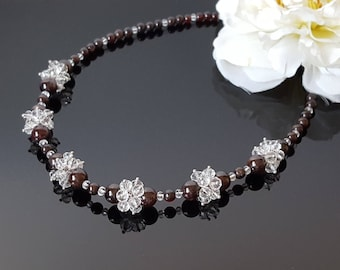 Garnet necklace for women January birthstone 50th Birthday gift for mother Beaded crystal cluster jewelry Wife Beauty Gift for mom