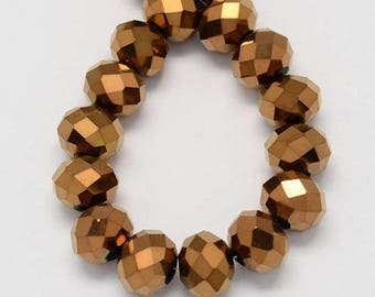 PV81 - set of 30 copper faceted glass beads, gold, blue