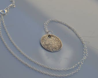 Jacobite Lucky Sixpence. Genuine 1732 Sixpence with solid silver chain.