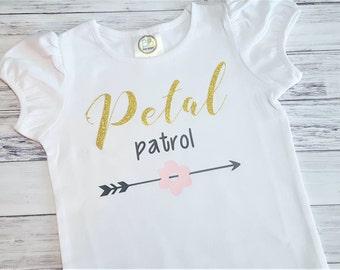 Flower Girl Shirt - Gold Glitter - Petal Patrol Top - Wedding Tee - Wedding Arrows - Flower Girl Gift - bridal party gifts rehearsal dinner