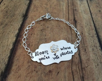 Flower Bracelet, Bloom Where You're Planted, Silver and Gold, Hand Stamped Flower Bracelet