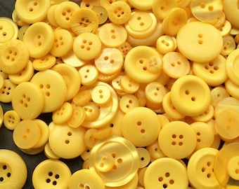 25 Yellow Button Mix, Yellow Assorted  Sizes, Sewing, Crafting, Jewelry Collect (1525)