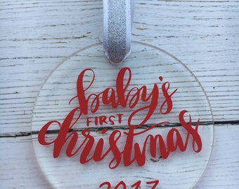 "2.5"" acrylic Baby's First Christmas Ornament"