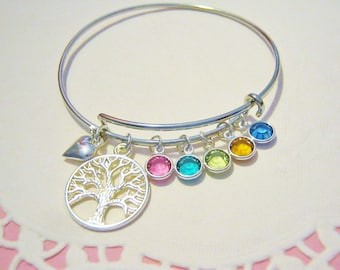 Personalized Family Tree with Swarovski birthstones, Tree of Life bangle, Family tree with birthstones, Gift for Mother, Grandma