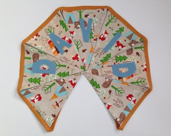Woodland camping themed personalized fabric bunting babygift