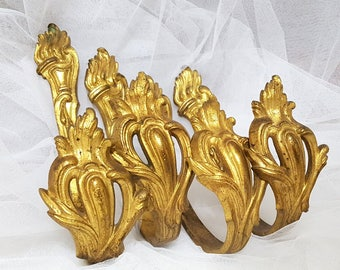 4 Antique French curtain tie back hooks holders Acanthus leaves Gilt brass Signed GH 2212