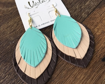 Triple-Layered Feathered Leather Earrings