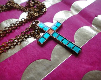 Vintage VTG Pendant cross necklace vintage jewerlry free shipping Cross Jewerly