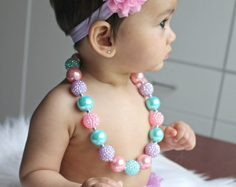 Easter necklace headband set, Easter baby headband, Mint Pink birthday, Baby Girl chunky necklace, cake smash photo prop, Pink Purple Mint
