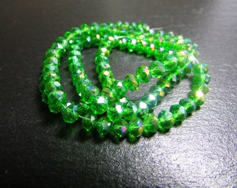 set of 30 iridescent 4 mm Green Crystal beads