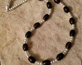 Purple and Pearl Single Strand necklace