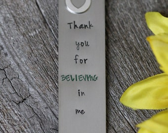 Personalized Bookmark - Hand Stamped Gift for Teacher or Parent- Custom Made Bookmark - Grandparent Gift - Thanks You Gift - Readers Present