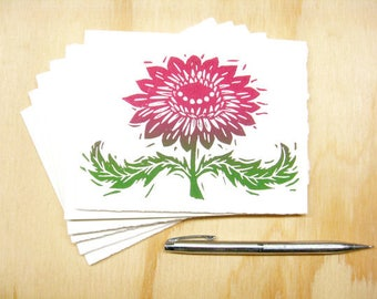 Greeting Cards - Magenta Flower - Set of 6 - Block Printed Cards