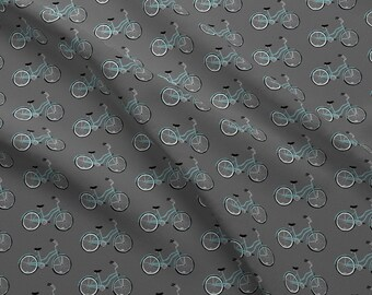 Bicycle Fabric - Aqua Bike On Gray By Beththompsonart - Blue Bike Novelty Cotton Fabric By The Yard With Spoonflower