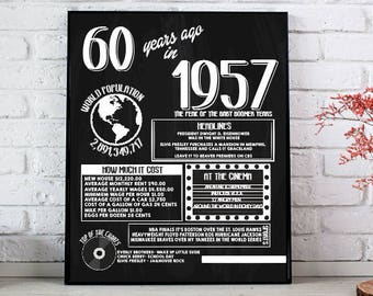 60th Birthday Poster 1957 Fun Facts Poster INSTANT DOWNLOAD printable