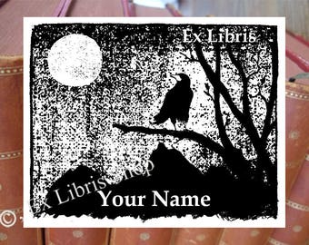 "Exlibris stamp or stickers ""Crow"", custom bookplate, personalized bookplate stamp or stickers, crow book stamp, library stamp, full moon,210"