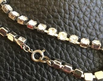 Silver toned rhinestone bracelet, vintage 80's