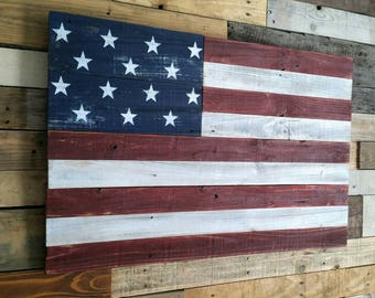 Rustic American Flag, USA Handmade Distressed Reclaimed Wood, Vintage, Weathered, Wooden Home Decor, Vintage American Flag