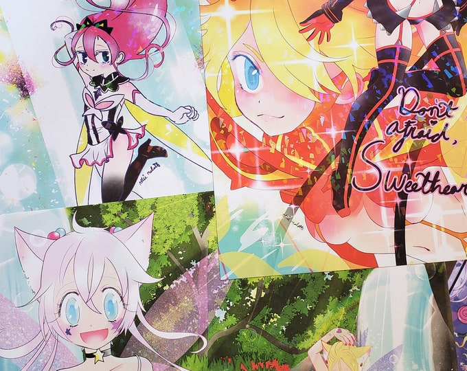 Holographic 11 x 17 posters- Kill la kill Ryuko, Flip Flappers Cocona, Magical Princess sky fairy paradise.