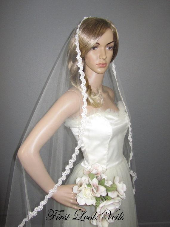 Lace Wedding Veil, Ivory Wedding Veil, Bridal Waltz Veil, Crystal Veil, Wedding Vail, Bridal Accessory, Bridal Attire, Bridal Gift, Women