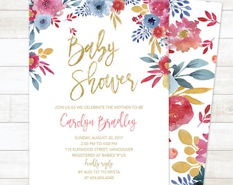 Summer Baby Shower Invitation, Floral Baby Shower Invitation, Pink Gold Baby Shower Invite, Summer Baby Shower Printable Invite