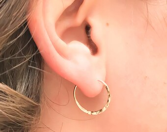 Small Gold Hoops, Hammered Hoops, Gold Hoop Earrings, Hammered Gold Hoops