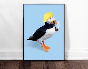 Puffin Art Print, Wall Art Decor, Large Colorful Poster, Animal Print, Baby Girl Poster Print, Baby Room Art Print, Nursery Print